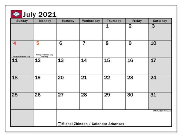 Calendar July 2021 - Arkansas. Public Holidays. Monthly Calendar and agenda to print free.