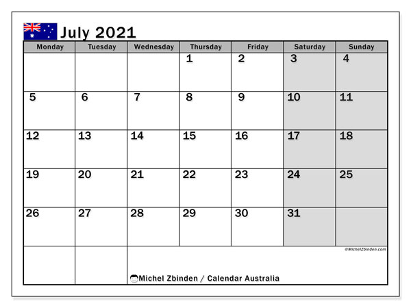 Calendar July 2021 - Australia. Public Holidays. Monthly Calendar and free printable bullet journal.