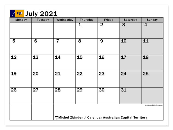 July 2021 Calendar, with the holidays of Australian Capital Territory. Holidays calendar to print free.