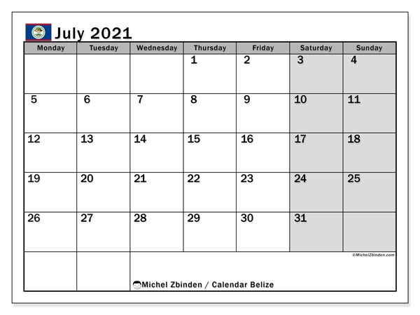 July 2021 Calendar, with the holidays of Belize. Free printable calendar with public holidays.