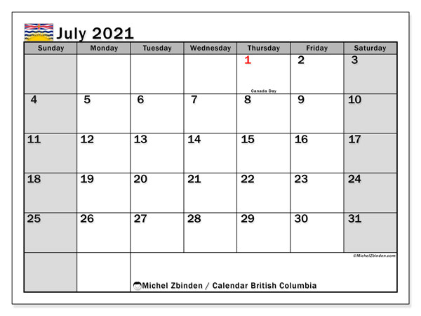 Calendar July 2021 - British Columbia. Public Holidays. Monthly Calendar and agenda to print free.