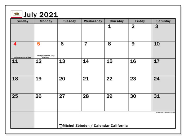 July 2021 Calendar, with the holidays of California. Free printable calendar with public holidays.