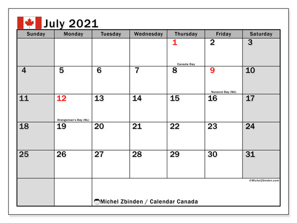 Pictures of 2021 Calendar With Holidays Canada