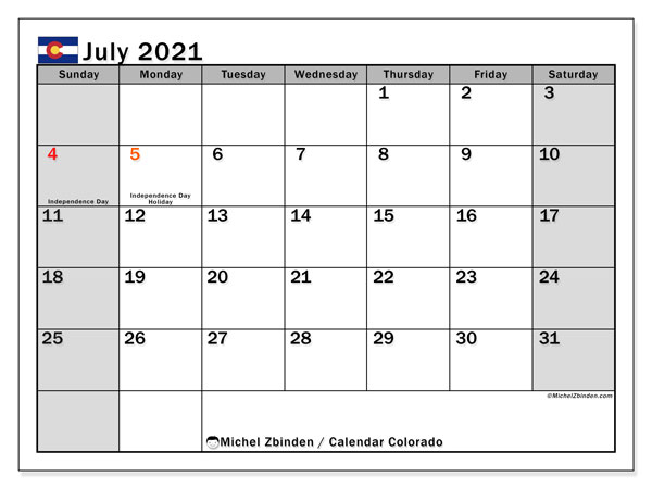 July 2021 Calendar, with the holidays of Colorado. Free printable calendar with public holidays.