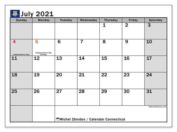 Calendar July 2021 - Connecticut. Public Holidays. Monthly Calendar and free printable timetable.
