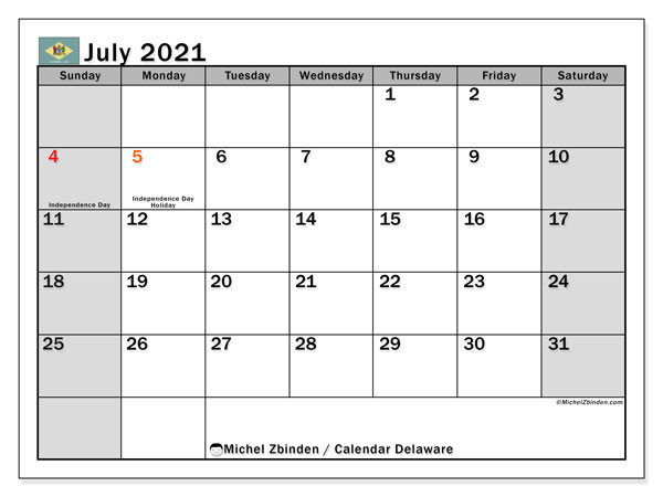 July 2021 Calendar, with the holidays of Delaware. Holidays calendar to print free.