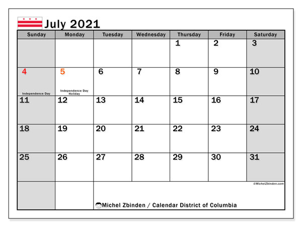 July 2021 Calendar, with the District of Columbia holidays. Holidays calendar to print free.