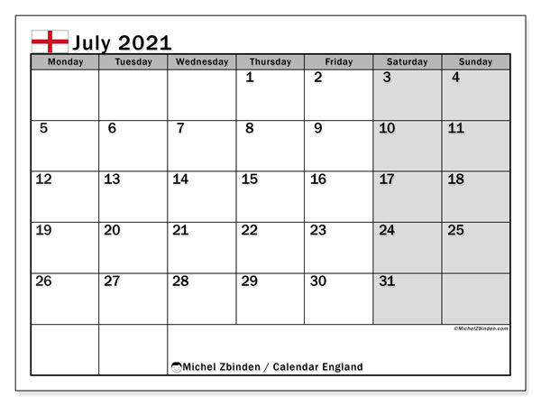 July 2021 Calendar, with the holidays of England. Free printable calendar with public holidays.