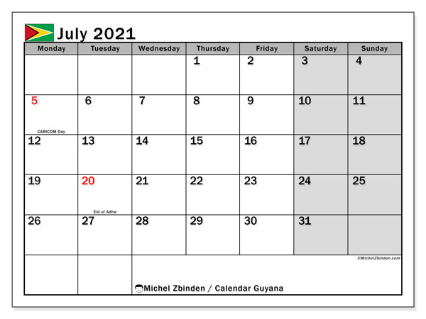 "July 2021 Calendars ""Public Holidays"" - Michel Zbinden EN"