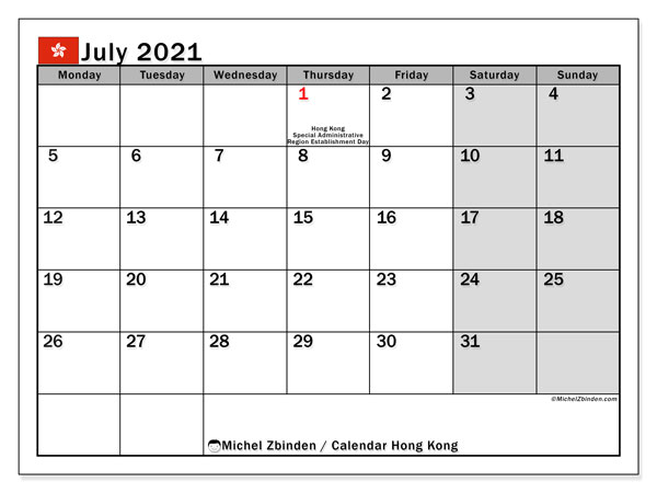 July 2021 Calendar, with the holidays of Hong Kong. Free printable calendar with public holidays.