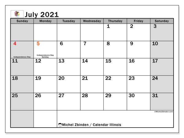 Calendar July 2021 - Illinois. Public Holidays. Monthly Calendar and agenda to print free.