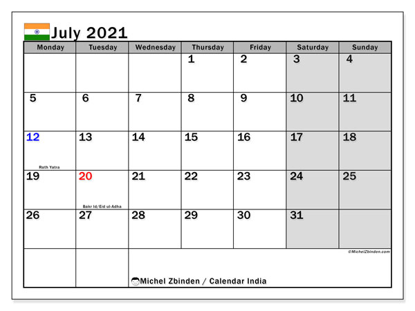 Printable calendars, July 2021, Public Holidays