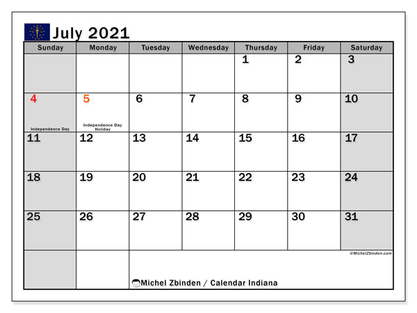 July 2021 Calendar, with the holidays of Indiana. Free printable calendar with public holidays.