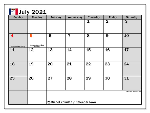 July 2021 Calendar, with the holidays of Iowa. Free printable calendar with public holidays.