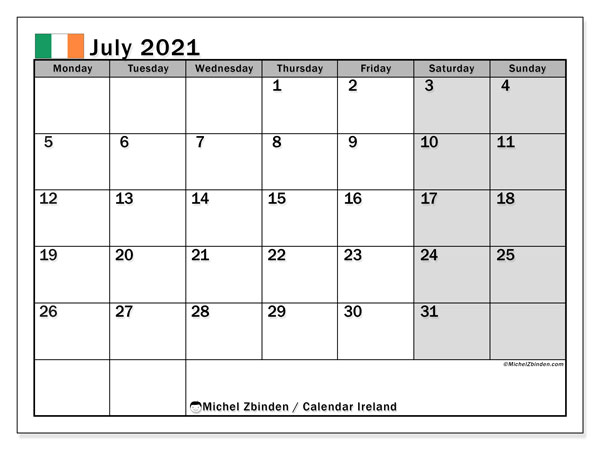 Calendar July 2021 - Ireland. Public Holidays. Monthly Calendar and free printable timetable.