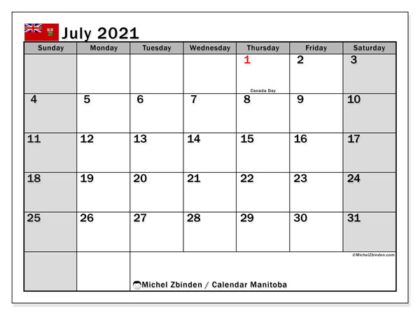 Calendar July 2021 - Manitoba. Public Holidays. Monthly Calendar and free bullet journal to print.