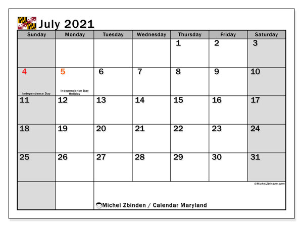 July 2021 Calendar, with the holidays of Maryland. Free printable calendar with public holidays.