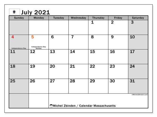 Calendar July 2021 - Massachusetts. Public Holidays. Monthly Calendar and planner to print free.
