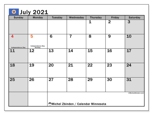 Calendar July 2021 - Minnesota. Public Holidays. Monthly Calendar and timetable to print free.