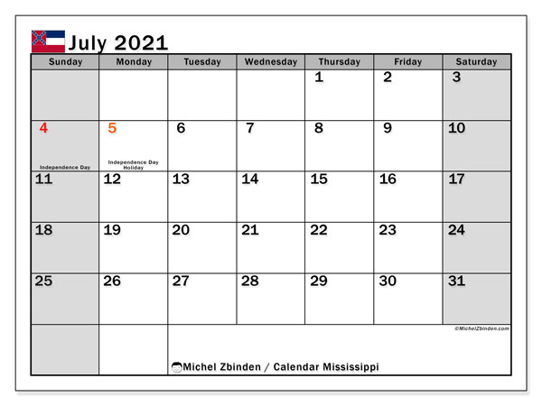 Calendar July 2021 - Mississippi. Public Holidays. Monthly Calendar and free planner to print.