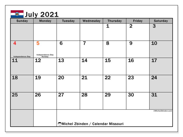 Calendar July 2021 - Missouri. Public Holidays. Monthly Calendar and free bullet journal to print.