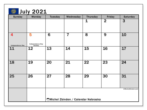 "Printable ""Nebraska"" calendar with public holidays. Monthly July 2021 calendar and free timetable to print."