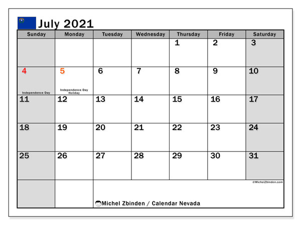 July 2021 Calendar, with the holidays of Nevada. Free printable calendar with public holidays.