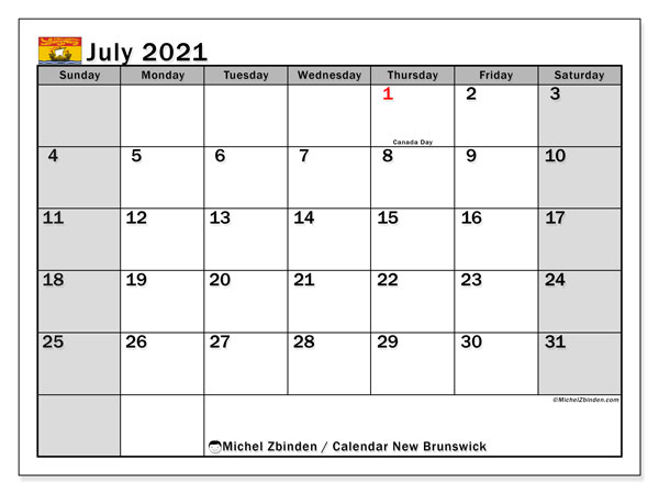 July 2021 Calendar, with the holidays of New Brunswick. Holidays calendar to print free.