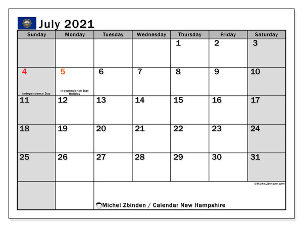 July 2021 Calendar, with the holidays of New Hampshire. Free printable calendar with public holidays.