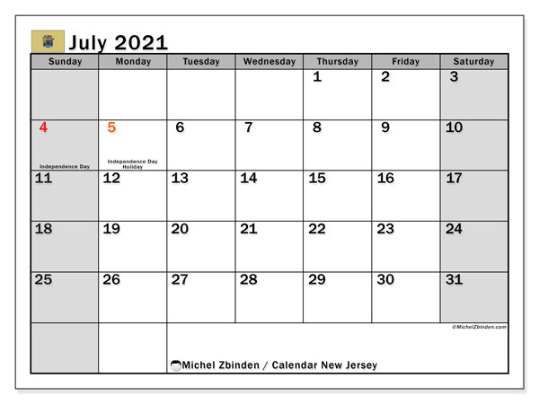 July 2021 Calendar, with the holidays of New Jersey. Holidays calendar to print free.
