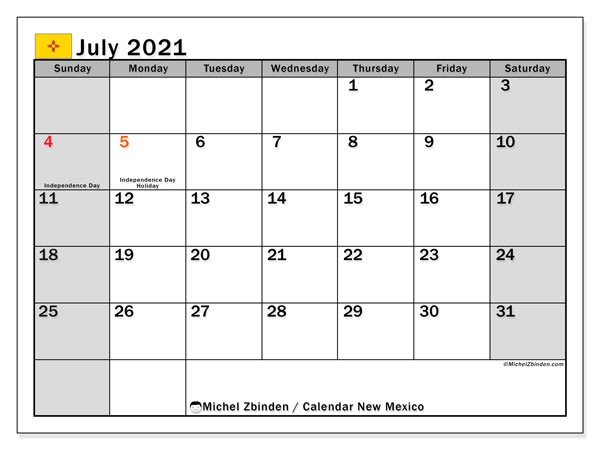 Calendar July 2021 - New Mexico. Public Holidays. Monthly Calendar and planner to print free.