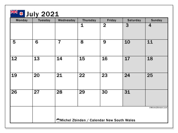 Calendar July 2021 - New south wales. Public Holidays. Monthly Calendar and free printable planner.
