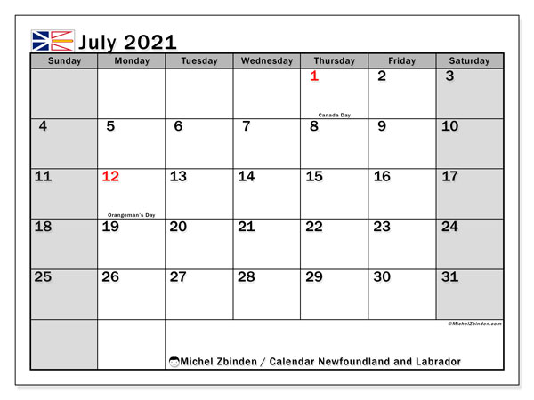 July 2021 Calendar, with the holidays of Newfoundland and Labrador. Free printable calendar with public holidays.