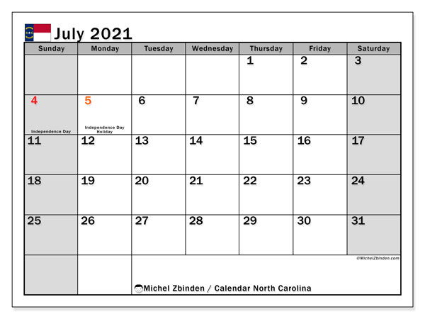 Calendar July 2021 - North Carolina. Public Holidays. Monthly Calendar and bullet journal to print free.