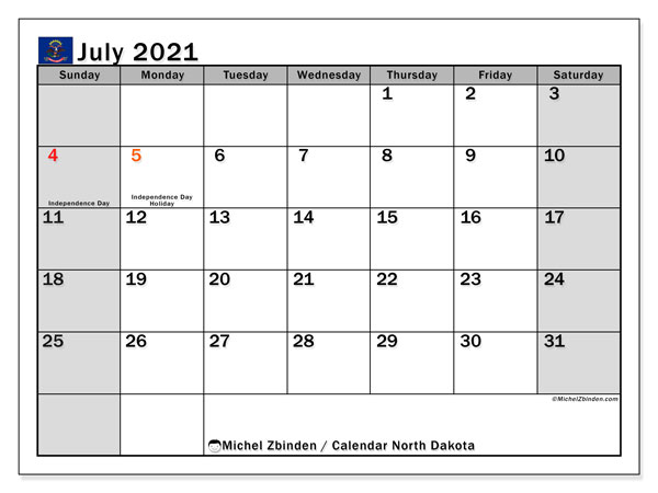 July 2021 Calendar, with the holidays of North Dakota. Free printable calendar with public holidays.