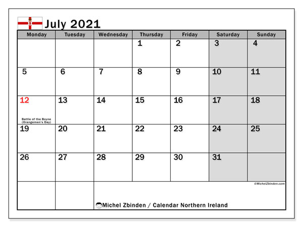 July 2021 Calendar, with the holidays of Northern Ireland. Free printable calendar with public holidays.