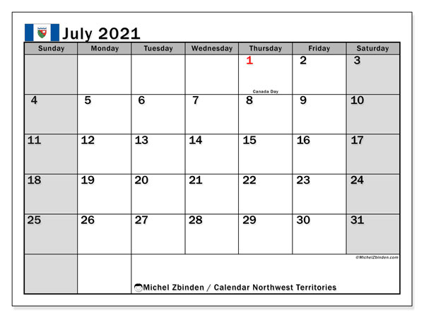 July 2021 Calendar, with the holidays of Northwest Territories. Holidays calendar to print free.