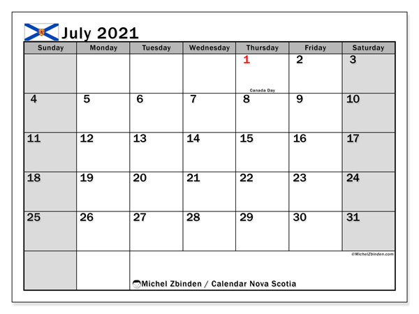 Calendar July 2021 - Nova Scotia. Public Holidays. Monthly Calendar and free planner to print.
