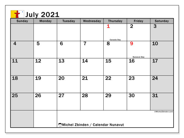 July 2021 Calendar, with the holidays of Nunavut. Holidays calendar to print free.
