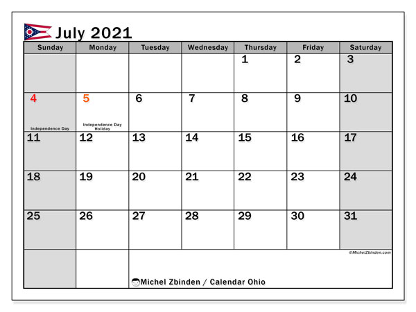 July 2021 Calendar, with the holidays of Ohio. Holidays calendar to print free.