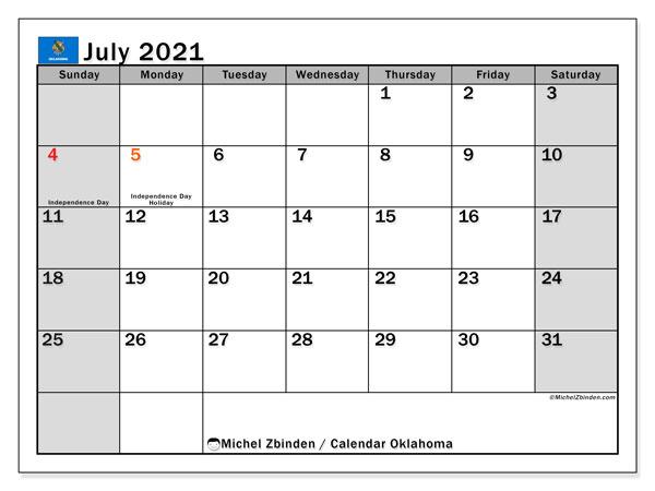 July 2021 Calendar, with the holidays of Oklahoma. Holidays calendar to print free.