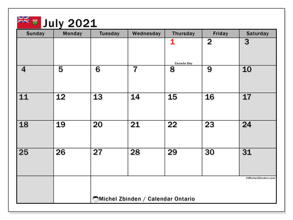 July 2021 Calendar, with the holidays of Ontario. Holidays calendar to print free.