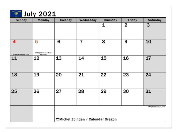 July 2021 Calendar, with the holidays of Oregon. Holidays calendar to print free.