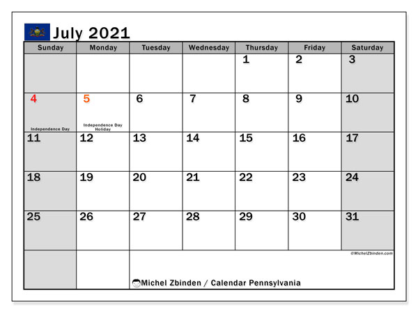 July 2021 Calendar, with the holidays of Pennsylvania. Free printable calendar with public holidays.