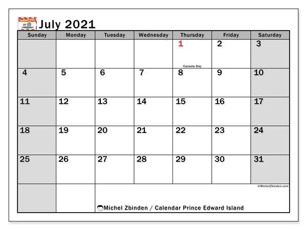 July 2021 Calendar, with the holidays of Prince Edward Island. Holidays calendar to print free.