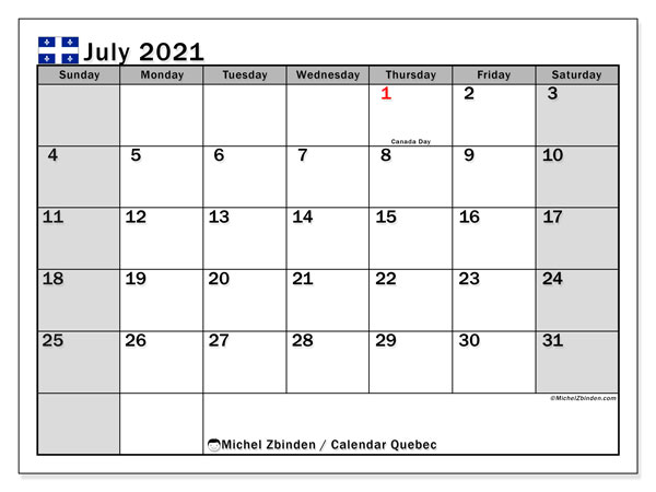 July 2021 Calendar, with the holidays of Quebec. Holidays calendar to print free.