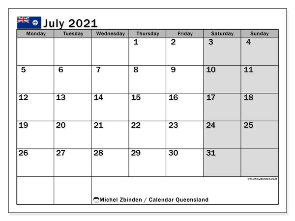 July 2021 Calendar, with the holidays of Queensland. Holidays calendar to print free.