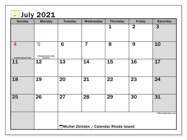 Calendar July 2021 - Rhode Island. Public Holidays. Monthly Calendar and free printable agenda.