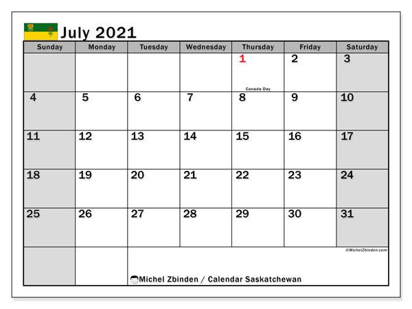 July 2021 Calendar, with the holidays of Saskatchewan. Holidays calendar to print free.