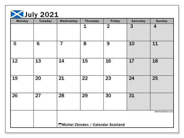 July 2021 Calendar, with the holidays of Scotland. Holidays calendar to print free.